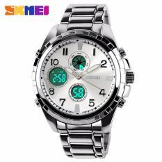 SKMEI Glamour Silver - Jam Tangan Pria - Rantai Stainless Steel - 1021 Elegant Silver + Free Box Jam Tangan Flash
