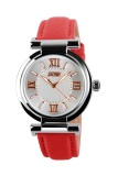 Beli Skmei Fragrant Merah Jam Tangan Wanita Tali Kulit 9075 Fashion Merah Free Box Jam Tangan Flash Seken