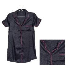 Sleepshirt Daster Mewah Black Hitam Satin Baju Tidur Piyama Cewek Ssr9 - D96eaa