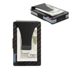 Harga Slim Carbon Fiber Kredit Pemegang Kartu Rfid Scan Metal Dompet Uang Klip Dompet Intl Termahal