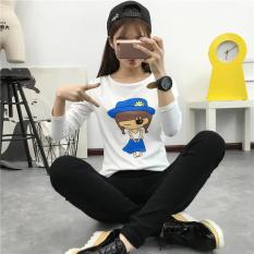 Jual Slim Cetak T Shirt Korea Fashion Style Lengan Panjang Atasan Putih Baju Wanita Baju Atasan Kemeja Wanita Antik