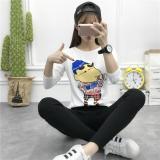 Beli Slim Cetak T Shirt Korea Fashion Style Lengan Panjang Atasan Putih Baju Wanita Baju Atasan Kemeja Wanita Terbaru