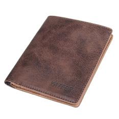 Beli For Pria Lipat Kulit Pu Vintage Dompet Tipis For Koin Kartu Kredit Uang Tunai Hadiah Coklat Internasional Online Murah