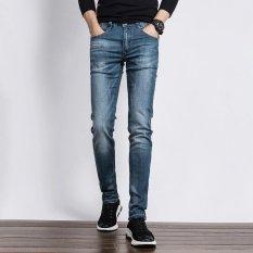 Beli Pria Ramping Mid Waisted Long Denim Jeans Kasual Pensil Biru Intl Small Wow Online