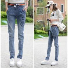 Beli Slim Wanita Jeans Casual Harlan Elastis Pinggang Celana Korea Slim Celana Intl Secara Angsuran