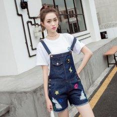 Harga Slim Wanita Mid Peninggi Merobek Celana Jeans Fashion Overall Biru Intl New