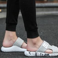 Slip Sandal Sandal Korea Kasual Luar Ruangan Mana Sandal Sepatu Pria Putih-Intl