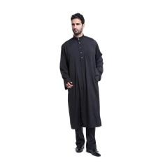 Kecil Wow Muslim Lengan Panjang Kasual Warna Solid Cotton Long Baju Kurung Hitam-Intl