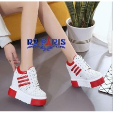 Sneakers Wedges Wanita 2 Stripe Dot Merah - Odavy R2