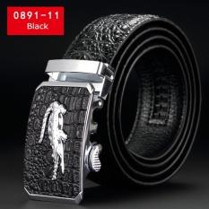 SNG-lan-store Premium Kualitas Crocodile Grain Cowhide Belt untuk Pria Fashion Bisnis Belt Pria Casual Belt (0891- 11) -(hitam)-Intl