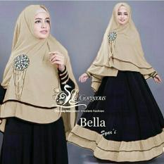 Snowshopkita Dress Muslimah Gamis Syari Bella - Mocca Hitam Dress Muslim / Gamis Wanita / Baju Muslim / Hijab Muslim / Fashion Muslim / Syar'i Muslim