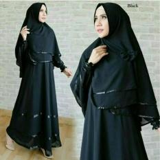 Snowshopkita Dress Muslimah Gamis Syari Anggun - Black - Baju Muslim / Fashion Wanita / Baju wanita / Baju Gamis / Busui / Gaun / Jersey / XL / Jumbo / Syari