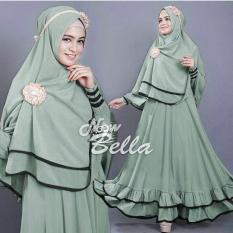 Snowshopkita Dress Muslimah Gamis Syari Bella - Full Hijau