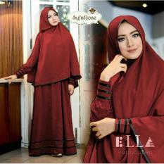 Snowshopkita Dress Muslimah Gamis Syari Syfarose - Merah Maroon