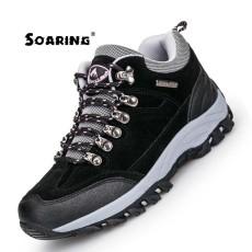 Melonjak Kulit Asli Sepatu Hiking Luar Plus Velvet Pria Hangat Salju Boots Berjalan Pendakian Anti-