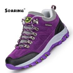 Dapatkan Segera Melonjak Kulit Asli Sepatu Hiking Luar Plus Velvet Pria Hangat Salju Boots Berjalan Pendakian Anti Selip Wanita Hiking Sepatu Trekking Sepatu Wanita Hiking Sepatu Ungu Intl