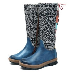 Jual Socofy Bohemian Splicing Pattern Flat Leather Fashion Women Knee Mid Calf Boots Intl Murah Hong Kong Sar Tiongkok