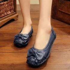 Socofy Simpul Anyaman Lembut Retro Fashion Wanita Flat Sepatu Pantofel Perahu-Intl