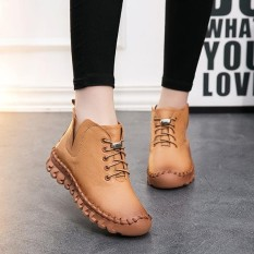 Socofy Fashion Casual Jahitan Renda Flat Ankle Kulit Musim Dingin Hangat Boots Intl Not Specified Diskon 30