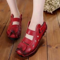 Beli Socofy Fashion Large Size Vintage Hollow Out Leather Soft Breathable Flat Hool Loop Women Shoes Intl Di Hong Kong Sar Tiongkok