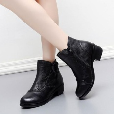 Socofy Fashion Retro Handmade Floral Soft Ankle Wanita Leather Boots Diskon Tiongkok