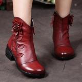 Spesifikasi Socofy Fashion Vintage Ankle Bunga Pola Jahitan Ritsleting Kulit Sepatu Bot Musim Dingin Wanita Lengkap Dengan Harga