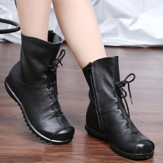 SOCOFY Fashion Wanita Ukuran Besar Warna Murni LACE UP Ankle Kulit Nyaman Zipper Boots-Intl