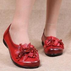 Harga Socofy Fashion Wanita Bunga Lembut Rumbai Kulit Flat Memakai Perahu Sepatu Loafers Kasual Antik Sepatu Lengkap