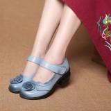 Spesifikasi Socofy Flower Leather Vintage Lembut Pompa Mid Heel Fashion Wanita Sandal Intl Yang Bagus