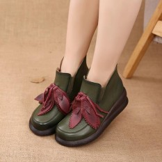 Jual Socofy Retro Leaves Zipper Ankle Platform Leather Fashion Women Boots Intl Branded Murah