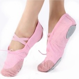 Spesifikasi Lembut Anak Dewasa Kanvas Womems Tari Balet Sepatu Yoga Latihan Senam Sepatu D50 Warna Merah Muda Intl Yang Bagus Dan Murah