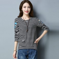 Lagu Rui Wanita Baru Ukuran Besar Pencetakan Baju Dalaman Lengan Panjang Lengan Bergaris Kaos (Hitam Lengan Bergaris)