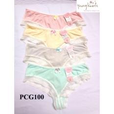 Diskon Young Hearts Panty Isi 4Pcs Celana Dalam S*xy Transparan Pink Kuning Hijau Abu
