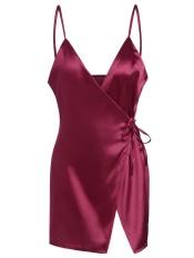 Spaghetti Strap Satin Wrap Dress-Intl