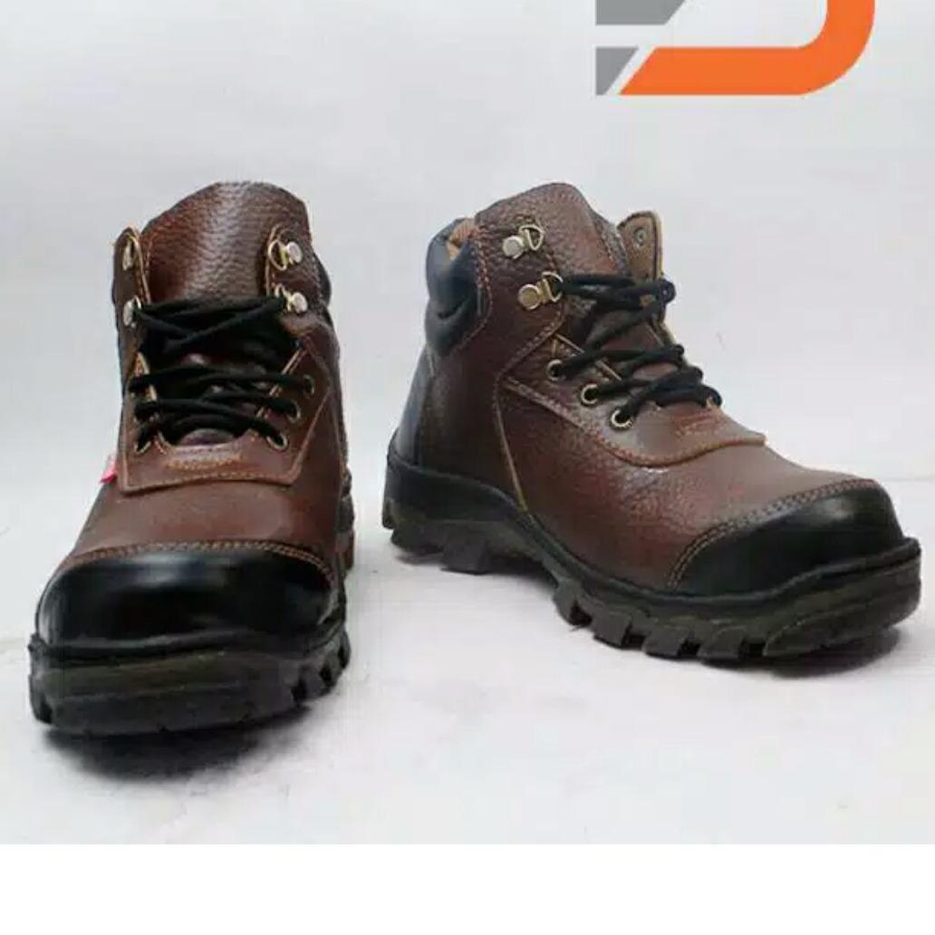 spartan - sepatu boots pria sepatu safety di atas mata kaki kulit sapi asli coklat