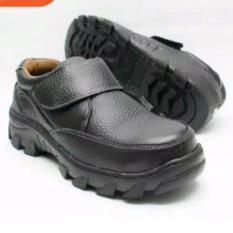 Spartan - sepatu boots pria safety pendek velcro untuk kerja formal / nonformal kulit sapi Asli Hitam