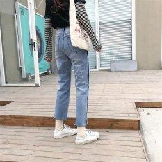 Penawaran Khusus Vintage Jahitan Jeans Wanita Casual Mid Waist Retro Ripped Pacar Patchwork Jeans Denim Celana Wanita Celana-Intl