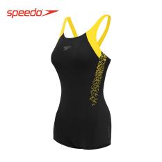 Speedo Baju Renang Pakaian Renang Perempuan Profesional Kebugaran Terusan (Hitam/panas kuning)