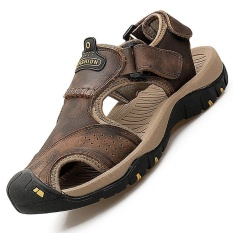 Pathfinder Pria Datar Kulit Sporty Sandal Velcro Sandal Hiking SEPATU hijau IDR383000 Rp .