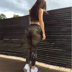 Sportswear Kamuflase Huruf Dicetak Yoga Celana Wanita Pinggang Tinggi Kebugaran Gimnasium Legging Dorong Panggul Atletik Lari Tights-Internasional
