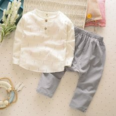 Musim Semi dan Musim Gugur Boy Linen Suit Kecil dan Menengah Anak's Bayi T-shirt Lengan Panjang + Celana Dua Piece 90 Cm-130 Cm (Abu-abu) -Intl