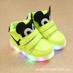 Musim Semi Dan Musim Gugur Fashion Korea Versi Kilat Led Sepatu Menyala Kartun Sepatu Anak Anak Anak Laki-Laki Dan Perempuan Sepatu Gaya Kasual Lembut Dan Nyaman Karet Sol (neon Hijau) -Intl By Buymore.