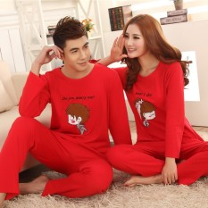 Spring and Autumn Men and Women Cute Cotton Long-sleeved Wedding Pajamas, Wedding Couple Red Cotton Pajamas (female Models) - intl