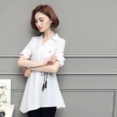 Musim Semi dan Musim Gugur Baru Versi Korea dari Irregular Kemeja, V Kerah Kaos Polos, Pinggang Apakah Tipis, jual Putih-Internasional