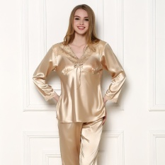 Spring and Autumn Pajamas Wholesale 2015 New Female Long SleeveImitation Silk Noble High-grade Female Pajamas