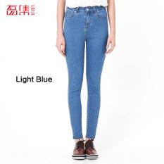 Jual Musim Semi Musim Gugur Fashion S 6Xl Tinggi Elastis Ikat Pants Jeans Ukuran Better Kasual Wanita Celana Jeans Wanita Pensil Skinny La Femme Mencuci Celana Denim Xxl Biru Muda Internasional Baru