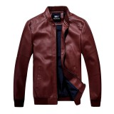 Beli Spring Autumn New Arrive Mens Motorcycle Pu Leather Jacket Men Slim Short Stand Collar Jacket Intl Baru
