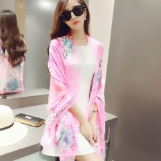 Kualitas Spring Autumn New Joker Printed Pure Silk Scarves Long Beach Towel Oversized Women Shawl Scarf Intl Wuxiang