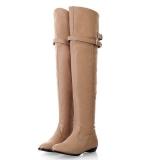 Musim Semi Musim Gugur Baru Korea Flat High Boots Over Knee Long Boots Sepatu Wanita Ladies Menunjuk Singles Martin Boots Terbaru