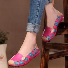 Harga Musim Semi Musim Gugur Santai Wanita Kulit Asli Sepatu Flat Kulit Lembut Wanita Sepatu Balet Sepatu Bulat Kaki Fleksibel International Murah